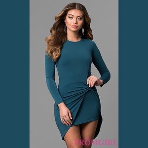 Long-Sleeve Short High-Low Party Dress